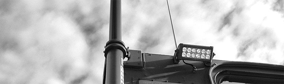 Scheinwerferkonstruktion an einem Sonderfahrzeug